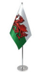 Wales Desk / Table Flag with chrome stand and base